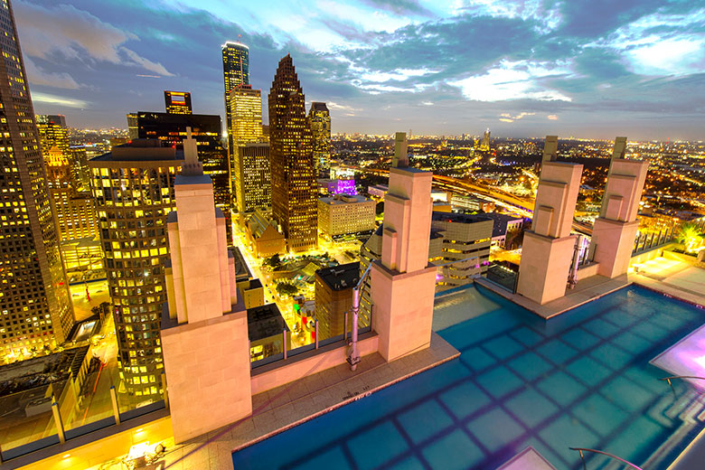 MST Sky Pool At Night Downtown Houston
