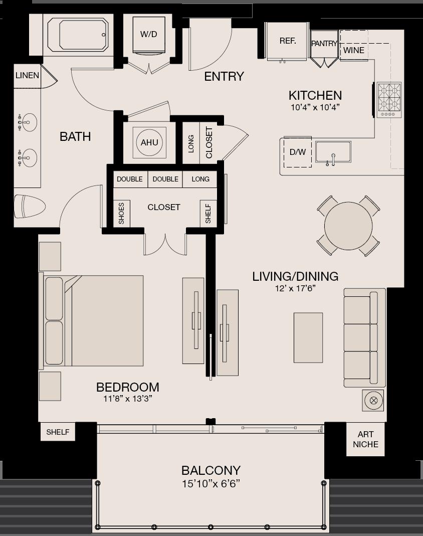 Type B - 1 Bedroom, 1 Bathroom Floor Plan