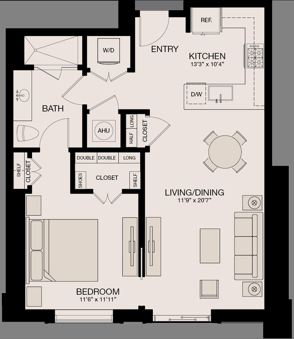 Type CL - 1 Bedroom, 1 Bathroom Floor Plan