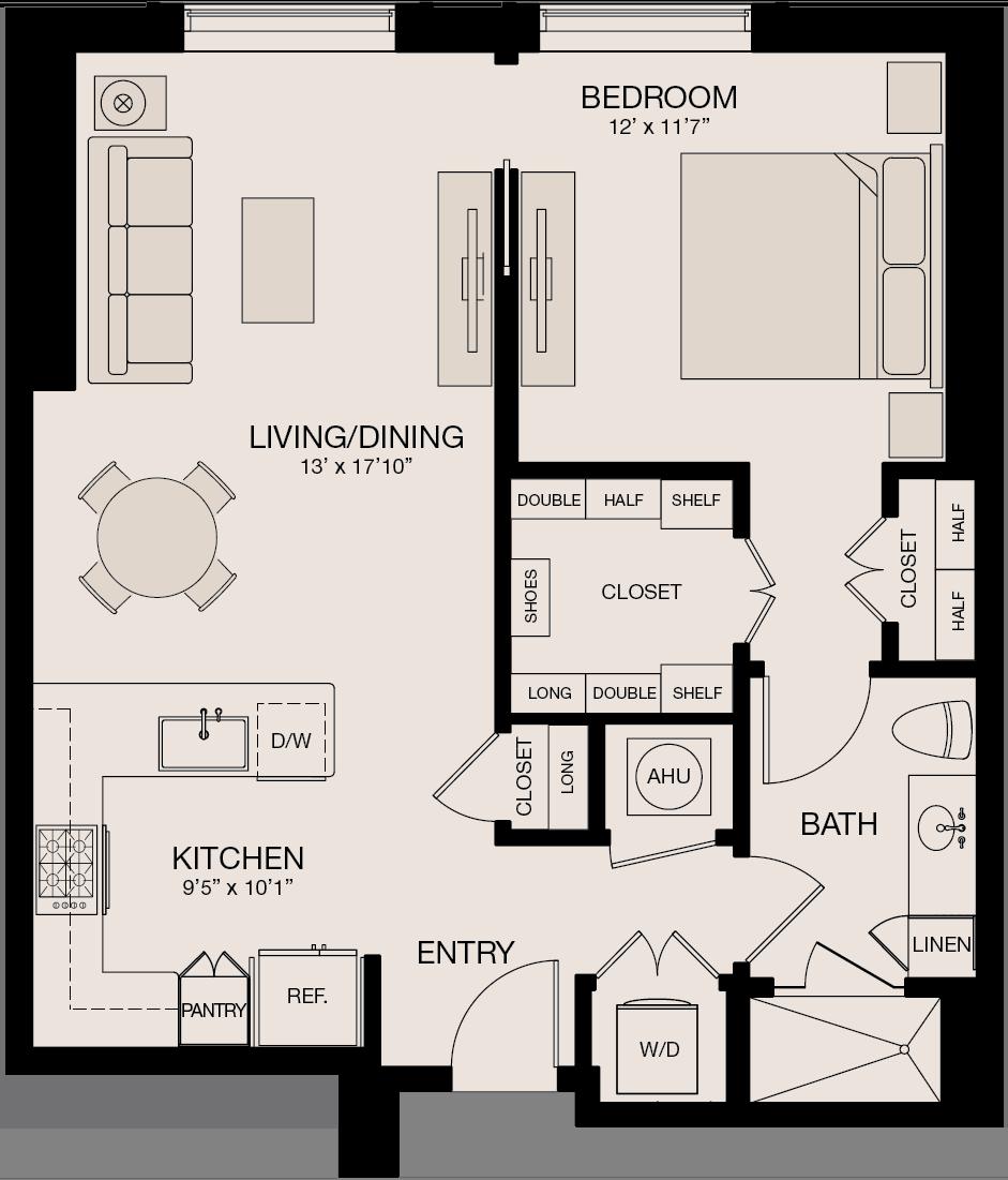 Type GL - 1 Bedroom, 1 Bathroom Floor Plan