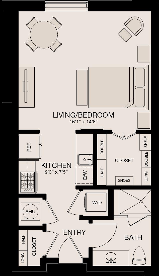 Type IL - Studio Bedroom, 1 Bathroom Floor Plan