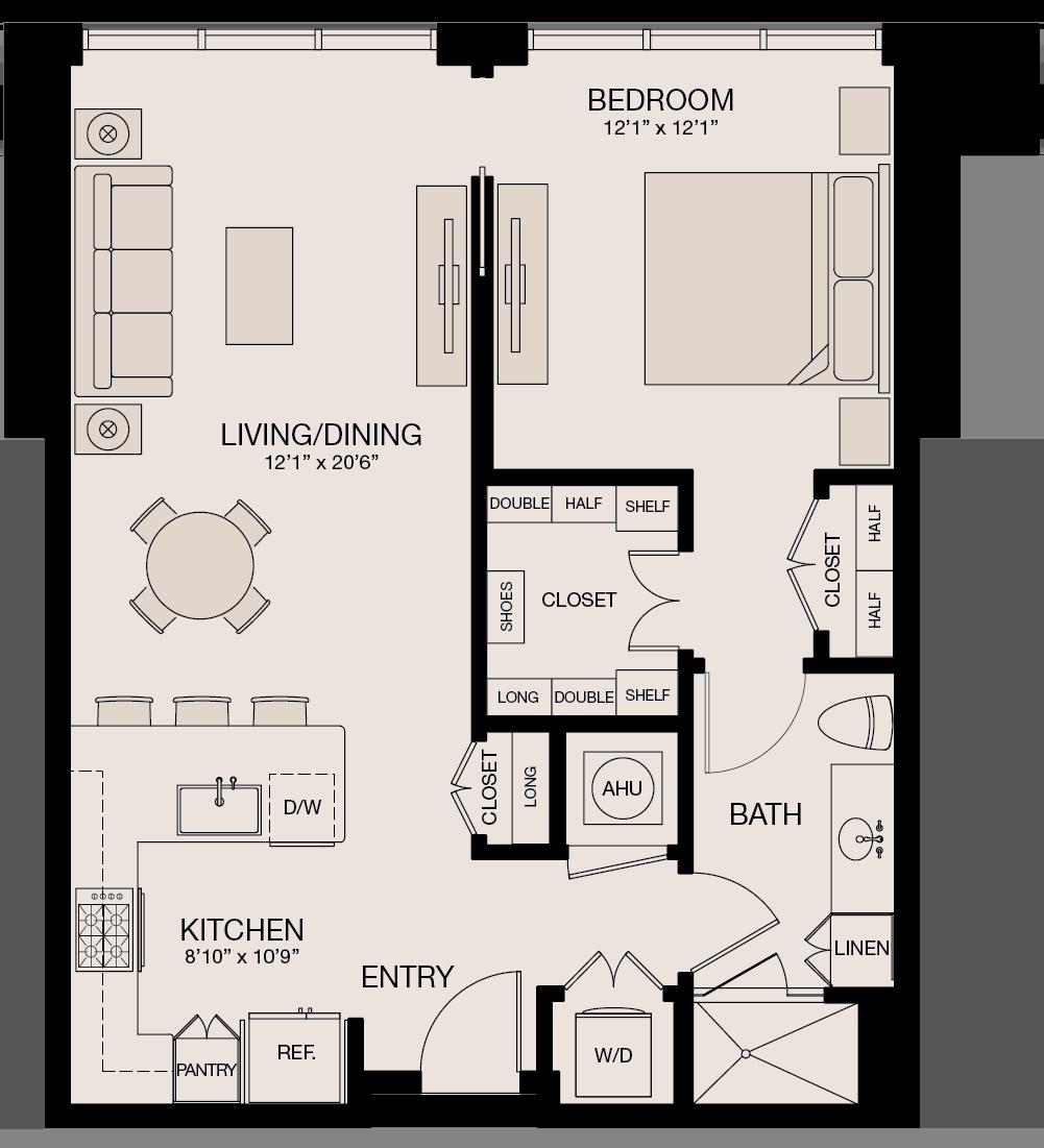 Type I - 1 Bedroom, 1 Bathroom Floor Plan