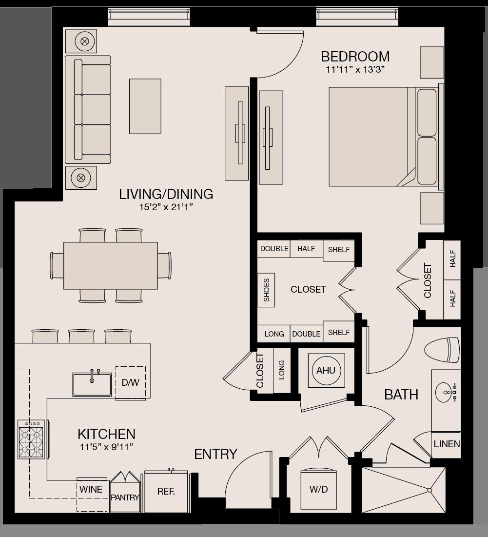 Type JL - 1 Bedroom, 1 Bathroom Floor Plan