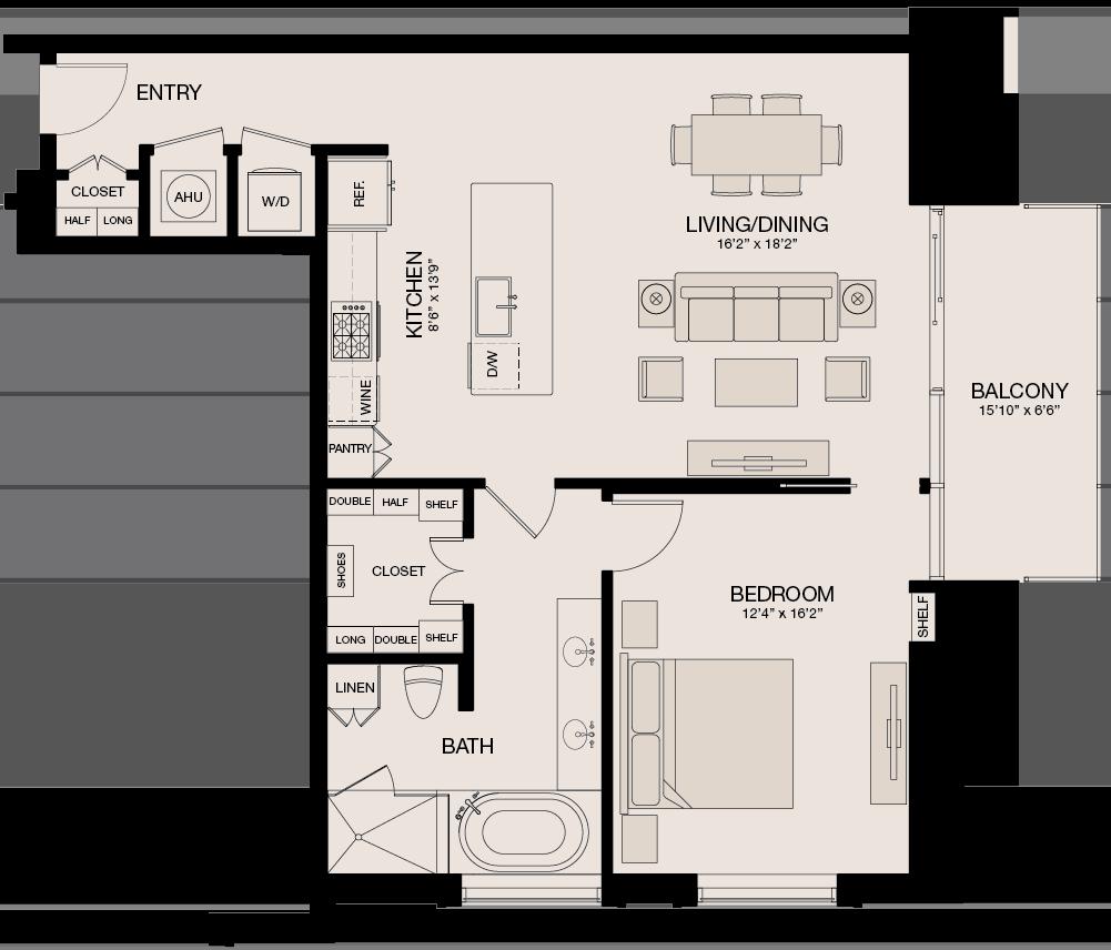 Type ML - 1 Bedroom, 1 Bathroom Floor Plan