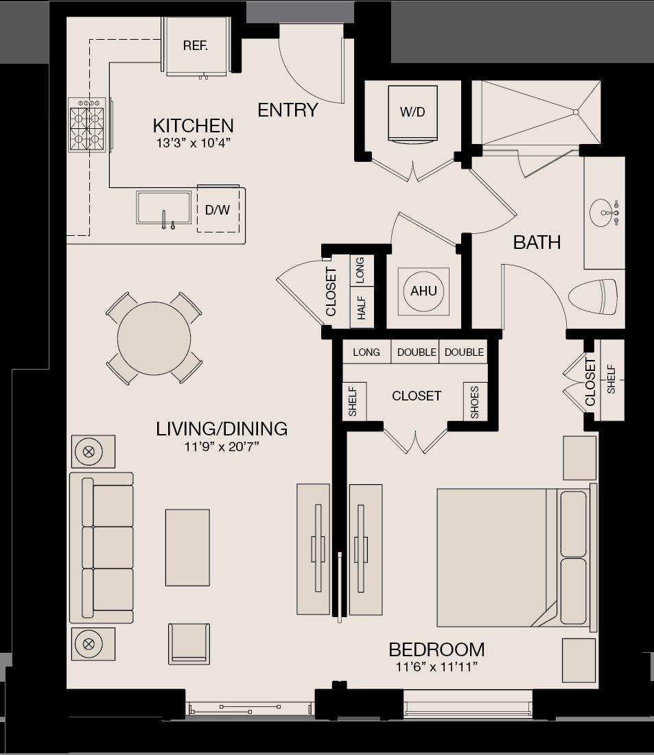 Type NL - 1 Bedroom, 1 Bathroom Floor Plan