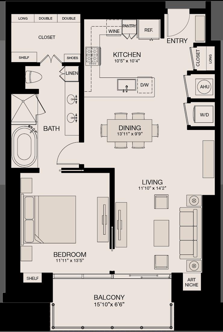 Type P - 1 Bedroom, 1 Bathroom Floor Plan